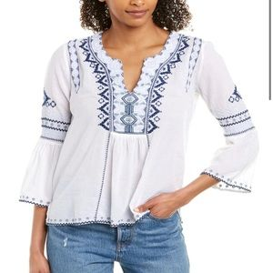 Johnny Was Blue & White Embroidered Blouse M